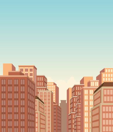 Blue big city landscape with buildings