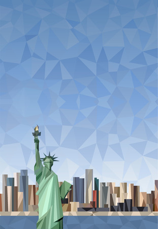 manhattan skyline: Statue of Liberty in New York City. Lower Manhattan skyline.