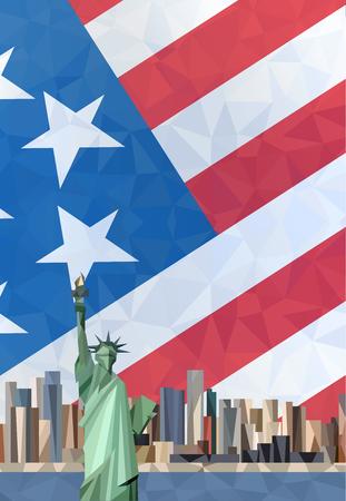 Freiheitsstatue in New York City. Amerikanische Flagge.