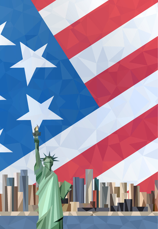 new york: Statue of Liberty in New York City. American flag. Illustration