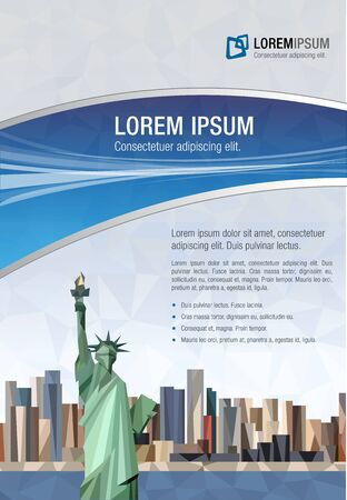 new york: Template for advertising brochure with Statue of Liberty in New York City.