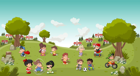 girl doll: Colorful park in the city with cartoon children playing. Sports and toys. Illustration