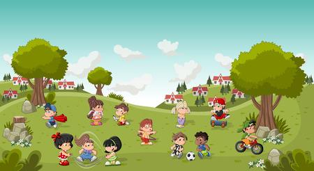 bicicleta vector: Parque colorido en la ciudad con los niños de dibujos animados jugando. Deportes y juguetes. Vectores