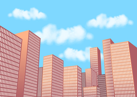 condominium: Big city landscape with tall buildings. Skyscrapers. Illustration