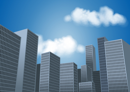 city landscape: Big city landscape with tall buildings. Skyscrapers. Illustration