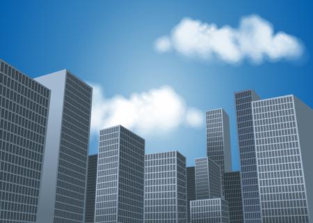 Big paysage de la ville avec des immeubles de grande hauteur. Grattes ciels. Banque d'images - 58203868