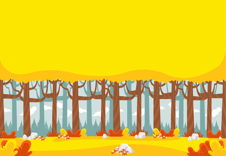 grass flower: Yellow forest with trees. Colorful park.