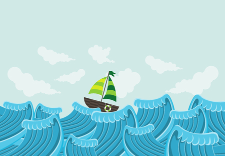skies: Sail boat on the beautiful sea with waves Illustration