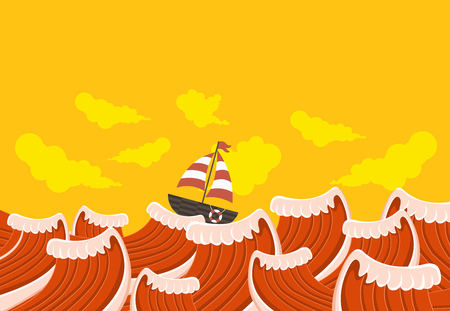 regatta: Sail boat on the beautiful sea with waves Illustration