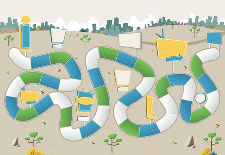 Brettspiel mit einem Block Pfad auf die Stadt mit Plakaten. Ad Zeichen. Standard-Bild - 58205810