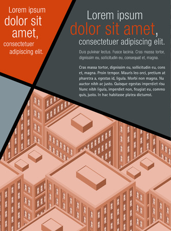 residential neighborhood: Red template for advertising brochure with big city with buildings. Downtown. Illustration