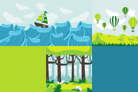 outdoor sport: Colorful template for advertising brochure with nature landscape. Forest, sea and mountain.