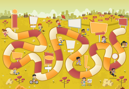 games: Colorful cartoon park with children playing over a board game with a block path on the city. Illustration