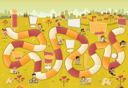 parque de dibujos animados colorido con los niños jugando en un juego de mesa con una trayectoria de bloque en la ciudad. Ilustración de vector