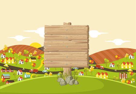Segno di legno sulla città colorata con case, automobili, alberi e fiume
