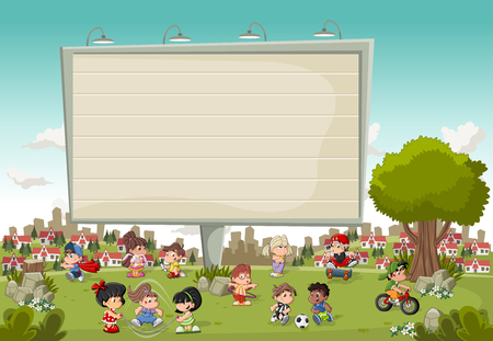 eva: Colorful park in the city with a big billboard cartoon and children playing. Sports and toys.