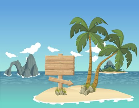 island paradise: Wooden sign on a tropical island beautiful
