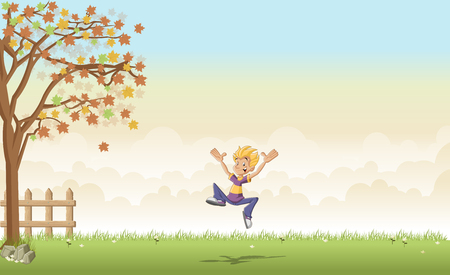 jubilation: Green grass landscape with cartoon teenager boy jumping
