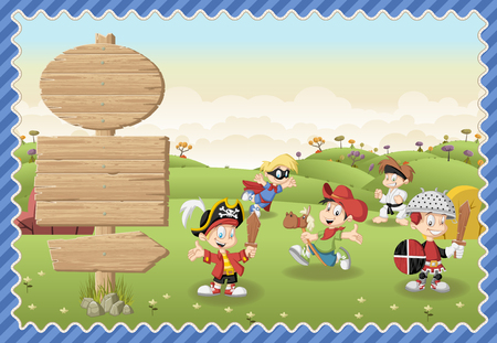 Card with a wooden signs. Cute cartoon boys wearing different costumes on a green park.