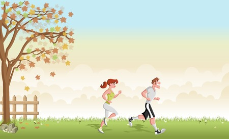 jogging in park: Green grass landscape with cartoon couple jogging. Running in the park.