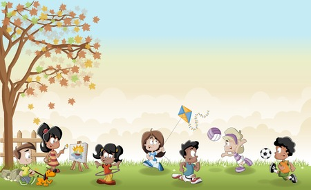 recreation: Green grass landscape with cute cartoon kids playing. Sports and recreation.