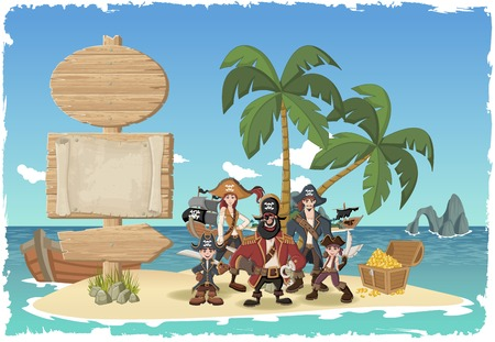 pirate girl: Wooden sign on a beautiful tropical island with cartoon pirates. Illustration