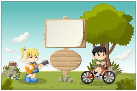 cartoon board: Wooden sign on colorful cartoon park with children playing.