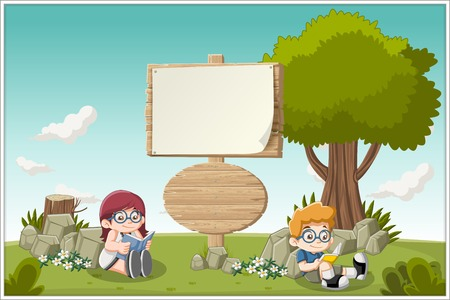 outdoor reading: Wooden sign on colorful park with cartoon children reading