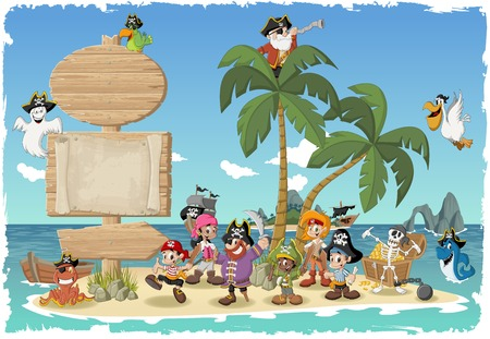 Wooden sign on a beautiful tropical island with cartoon pirates. Stock Illustratie