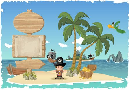 Wooden sign on a beautiful tropical island with cartoon pirate boy. Illustration