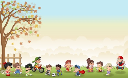 kids playing sports: Green grass landscape with cute cartoon kids playing. Sports and recreation.