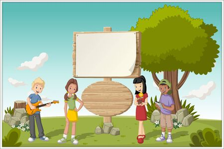 cartoon teenager: Wooden sign on colorful park with cartoon teenagers