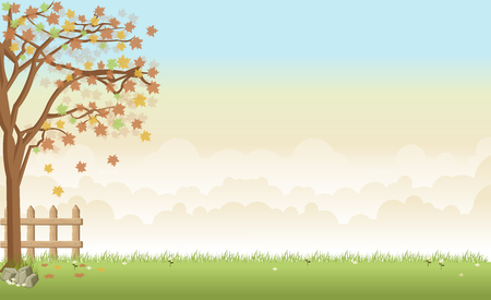 tree grass: Green grass landscape with a tree, flowers and clouds Illustration