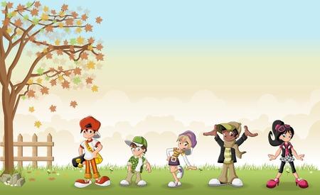 skateboard park: Green grass landscape with cute cartoon teenagers.