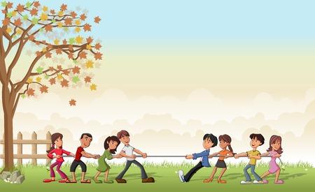 Groen gras landschap met kinderen spelen touwtrekken