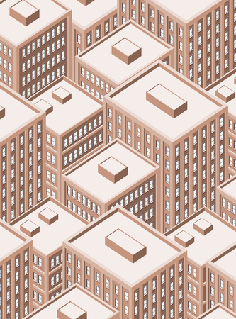 Big isometric city with tall buildings. Skyscrapers.