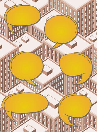financial district: Big isometric city with people talking. Speech balloon, speech bubble.