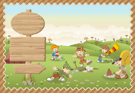 childrens book: Card with a wooden signs. Cute cartoon explorer boys on a green park.