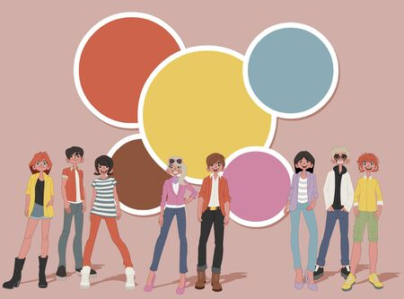 juvenile: Template for advertising brochure with a group of fashion cartoon young people. Teenagers.
