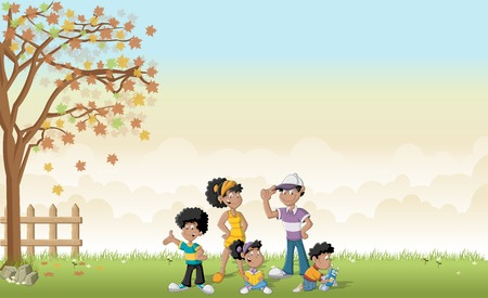 black family: Green grass landscape with cute cartoon black family.