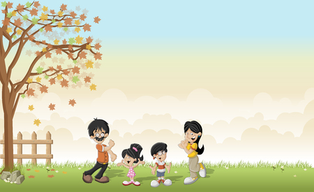 asian family: Green grass landscape with cute cartoon asian family.