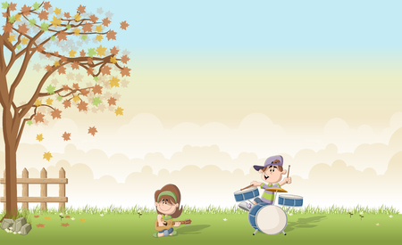 accords: Green grass landscape with cute cartoon boy and girl playing music on the band. Acoustic guitar and drum.