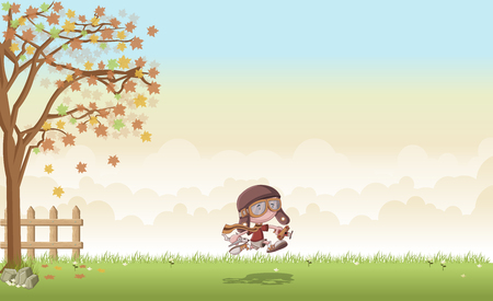 Green grass landscape with cartoon boy with helmet and goggle running with airplane toys