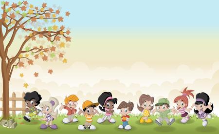 cute cartoon kids: Green grass landscape with cute cartoon kids. Illustration