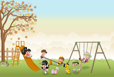 Cute happy cartoon kids playing in the playground on the backyard Vectores