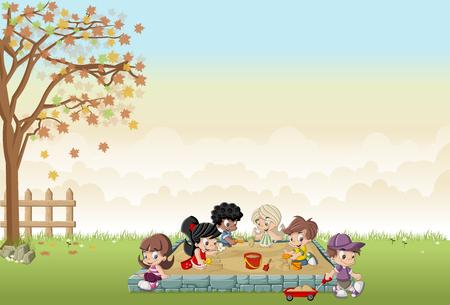 backyard: Cute happy cartoon kids playing in the sandbox on the backyard