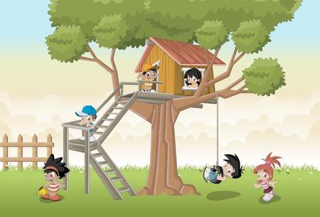 backyard: Cute happy cartoon kids playing in the backyard tree on house Illustration