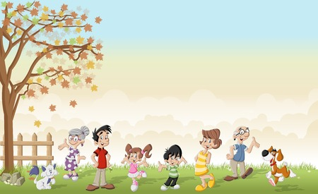 grandfather: Green grass landscape with cute cartoon family.