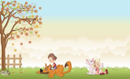 Groen gras landschap met cartoon jongen en meisje met hond en kat