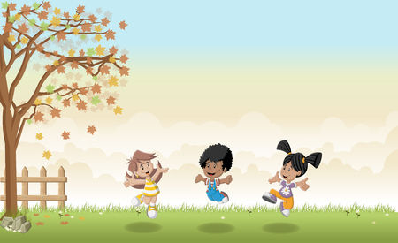 jubilation: Green grass landscape with cute cartoon kids jumping. Illustration